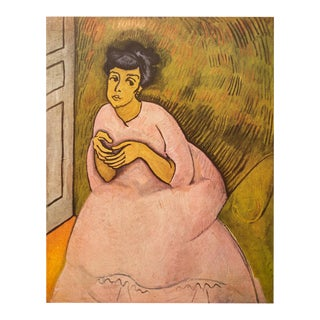 """1954 Raoul Dufy """"Woman in Rose"""", First Edition Lithograph For Sale"""