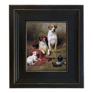 Three Hounds Framed Oil Painting Print on Canvas in Distressed Black Wood Frame For Sale