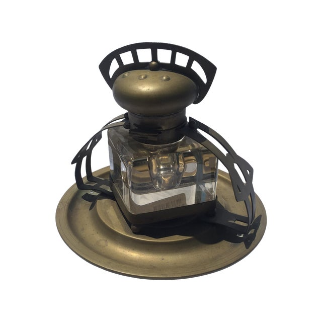 Brass & Crystal Inkwell - Image 1 of 5