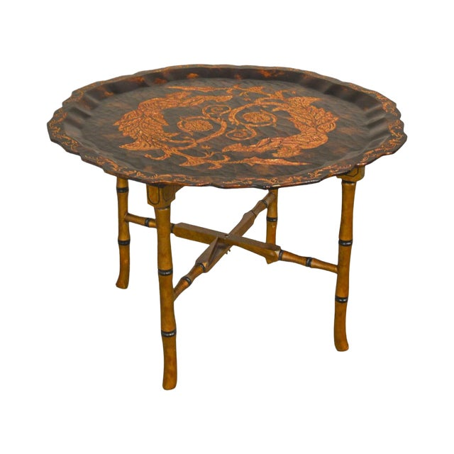 Black & Gold Crackle Painted Finish Pie Crust Tray Top Faux Bamboo Coffee Table For Sale