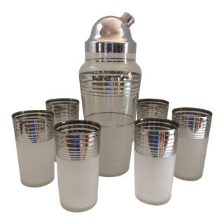 Mid-Century Modern Cocktail Set With Platinum & Sugar Glass Finish - Set of 7 For Sale
