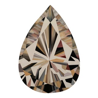 Kurt Pio Pink Pear Shaped Diamond Acrylic Painting on Canvas For Sale