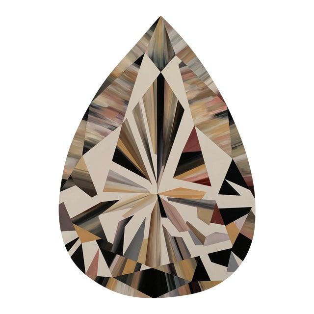 Kurt Pio Pink Pear Shaped Diamond Acrylic Painting on Canvas For Sale