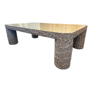 Art Deco Almond-Colored Plaster Coffee Table For Sale