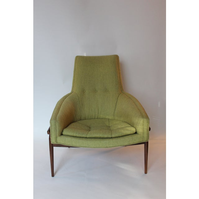 Walnut Mid-Century Modern Chartreuse Upholstered Walnut Side Chair For Sale - Image 7 of 7