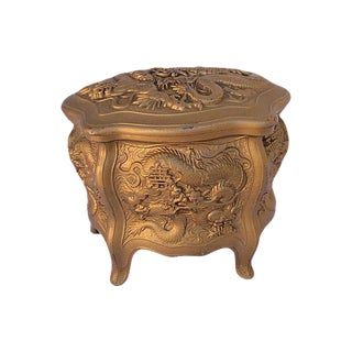 Antique Gold Dragon Chinosiere Chest For Sale