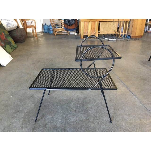 1940s Early Art Deco Two-Tier Mesh Steel Outdoor/Patio Side Table by Woodard For Sale - Image 5 of 7