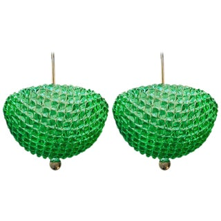 1960s Mid-Century Modern Barovier & Toso Emerald Murano Green Glass Pendants - a Pair
