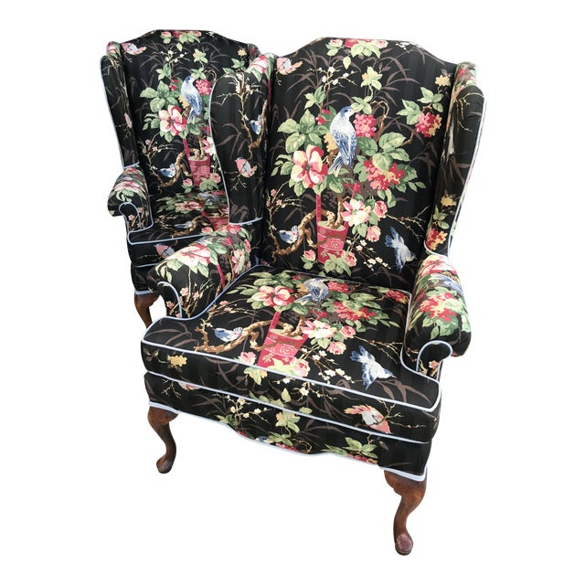 Chinoiserie Upholstered Wing Bach Chairs For Sale