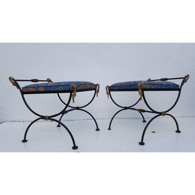 Italian Brass Swan Motif Stools - A Pair For Sale - Image 5 of 11