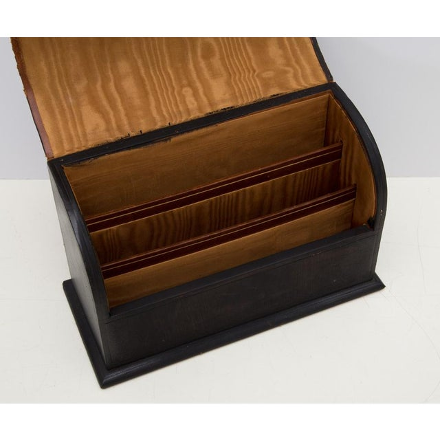 Early 20th Century Antique Leather Desk Stationery Letter Organizer For Sale - Image 5 of 8