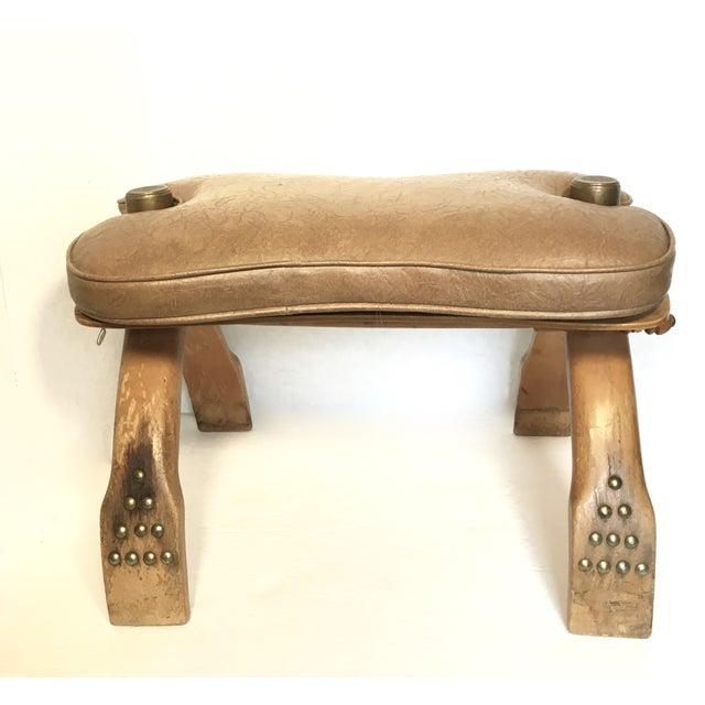 Boho Chic Egyptian Wood & Brass Camel Saddle Ottoman For Sale - Image 3 of 5