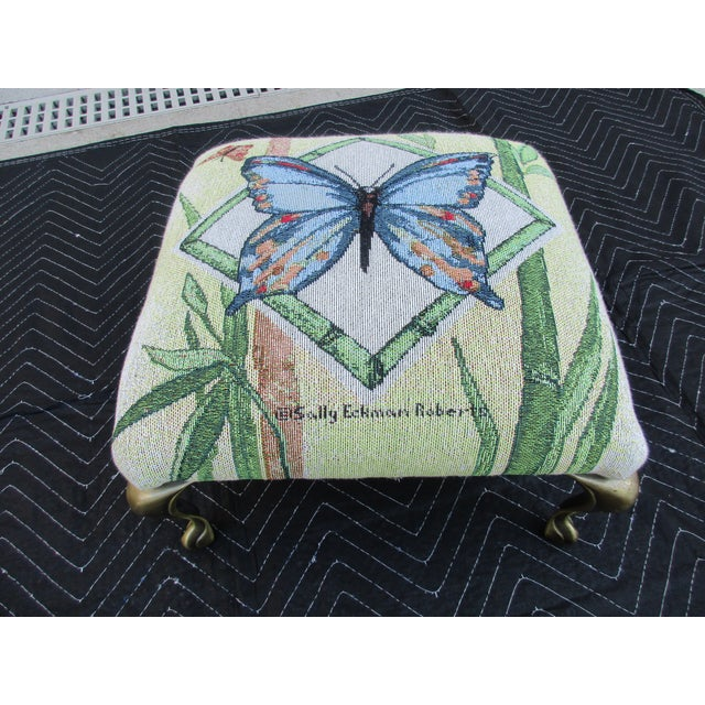 Butterfly Print Footstool With Brass Cabriole Legs For Sale - Image 4 of 11