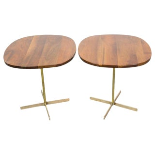 Pair of Elegant Side Tables in Brass and Wood by Allan Gould For Sale
