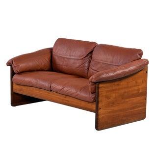 Mikael Laursen 2-Seat Solid Teak Danish Loveseat Sofa Original Cognac Leather For Sale