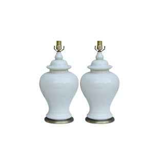 Cream Craquelure Ceramic Lamps - a Pair For Sale