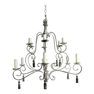 Twelve-Light French Painted Chandelier With Tassels For Sale