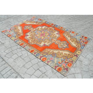 Distressed Area Rug Hand Knotted Colorful Oushak Medallion Rug - 4'4'' X 7'3'' Preview