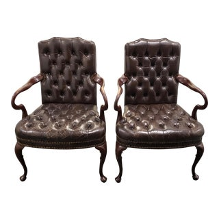 Chocolate Leather Button Down Side Chairs Circa 1950s-A Pair For Sale