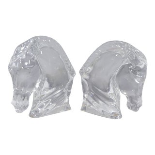 Pair of Tauni De Lesseps Baccarat Crystal Horse Heads Signed For Sale