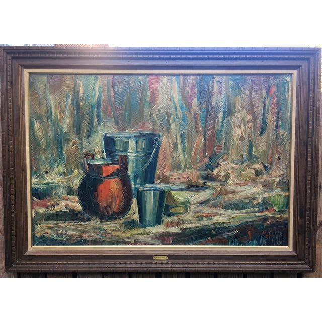 Still Life, Hanz Maassen, signed, oil on canvas, original wooden frame. Beautifully painted , thick palette knife,...