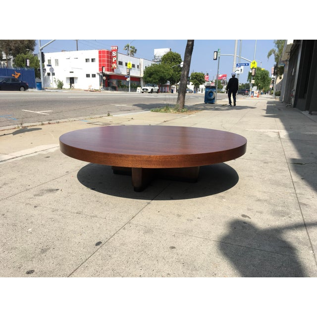 1950s Art Deco Architectural Round Mahogany Coffee Table For Sale In Los Angeles - Image 6 of 11