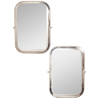Pair of English Beaded Nickel-Plated Mirrors For Sale