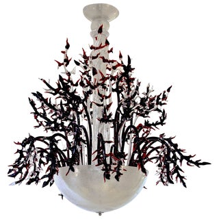 1980s Modern Italian White Murano Glass Chandelier With Organic Coral Decor For Sale