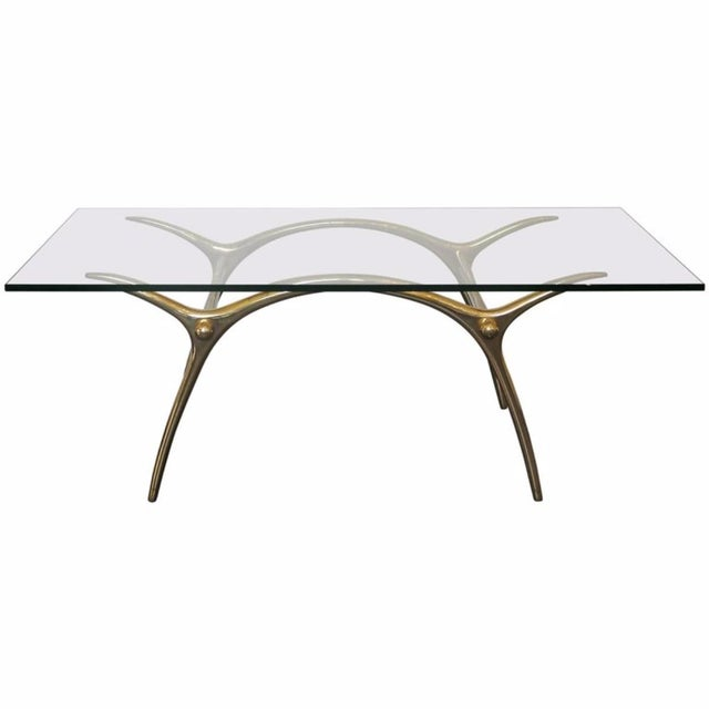 1970s Coffee Table in Glass an Polished Brass by Belgian Designer Kouloufi For Sale - Image 6 of 6
