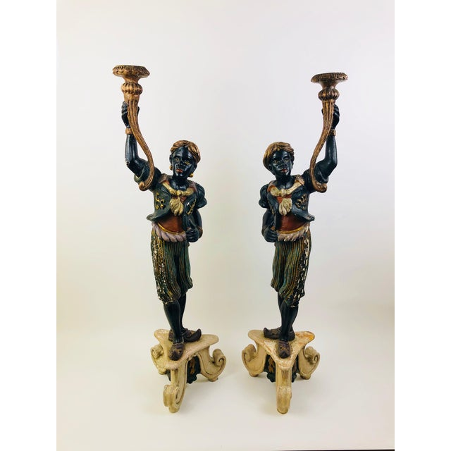 Pair of Old Venetian Blackamoors In Carved Wood, Gesso Overlay, and Polychrome & Gilt Finish For Sale - Image 4 of 4