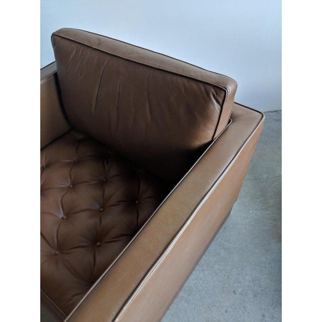 Mies Van Der Rohe Brown Leather Settee for Knoll International For Sale - Image 9 of 11
