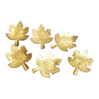 Vintage Indian Mid-Century Solid Brass Leaf Shaped Coasters / Dishes - Set of 6 For Sale