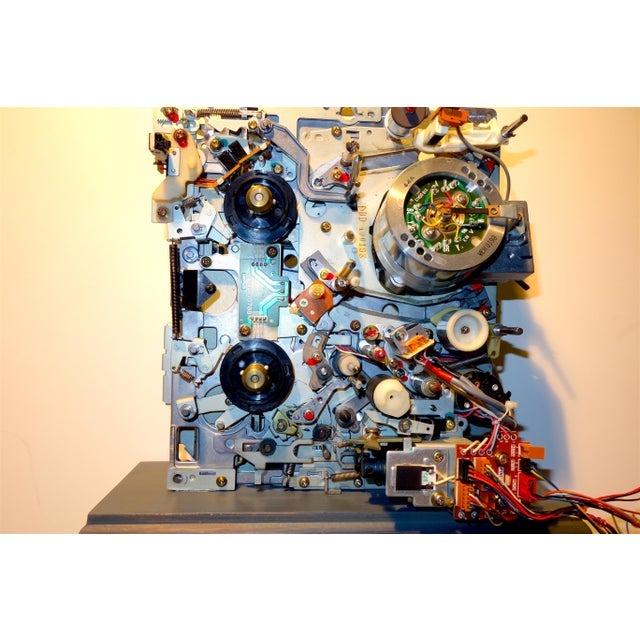 Component Art Sculpture Mounted on Wood Like Base. Vintage Tv. Mid-Later 20th Century For Sale - Image 4 of 12