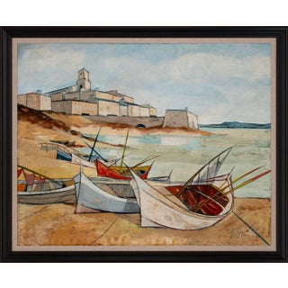 """Circa 1965 """"Port Corse"""" Nautical Seascape Oil Painting by Charles Levier, Framed For Sale"""