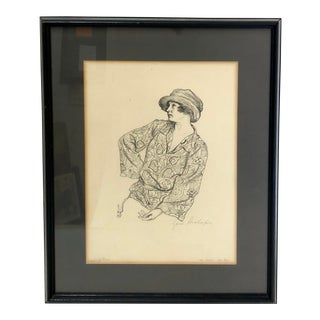 1923 Portrait Study Muz Perry Lithograph Sketched by Hans Strohofer For Sale