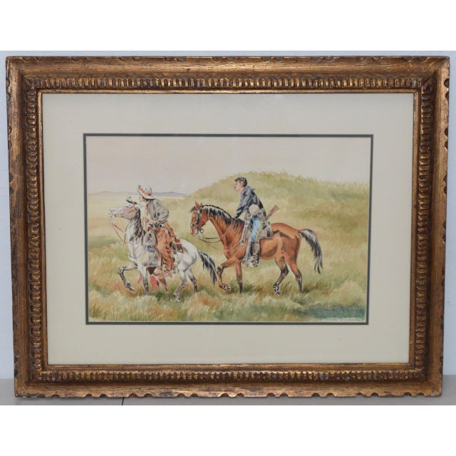 """J. Thomas Soltesz (American, B.1955) """"The Couriers"""" Original Watercolor For Sale - Image 9 of 9"""