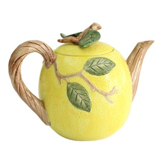 Vintage Majolica Fitz & Floyd Lemon Ceramic Tea Pot For Sale