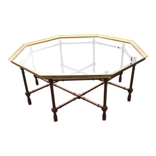 1960s Hollywood Regency Baker Brass & Glass Octagon Tray Top Coffee Table For Sale