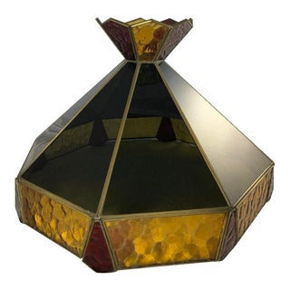 Mid 20th Century Vintage Tiffany Style Stain Glass Lamp Shade For Sale
