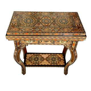 Mosaic Wood Inlay Folding Game Table Preview