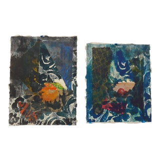 Martha Holden Original Abstract Collage Paintings - A Pair For Sale