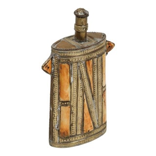 Moroccan Brass Berber Tribal Gun Powder Flask Inlaid With Bone For Sale