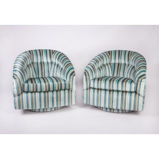 Vintage Striped Velvet Swivel Chairs in the Manner of Milo Baughman Preview