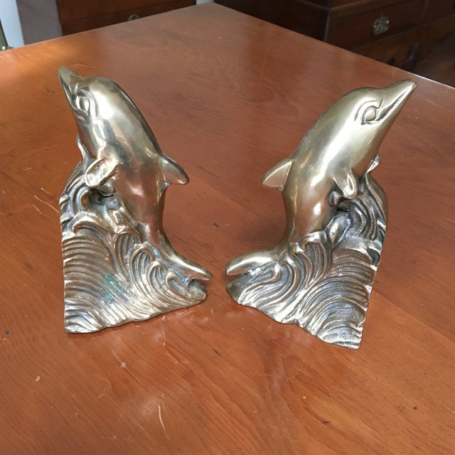 Hollywood Regency Brass Dolphin Bookends - A Pair - Image 6 of 6
