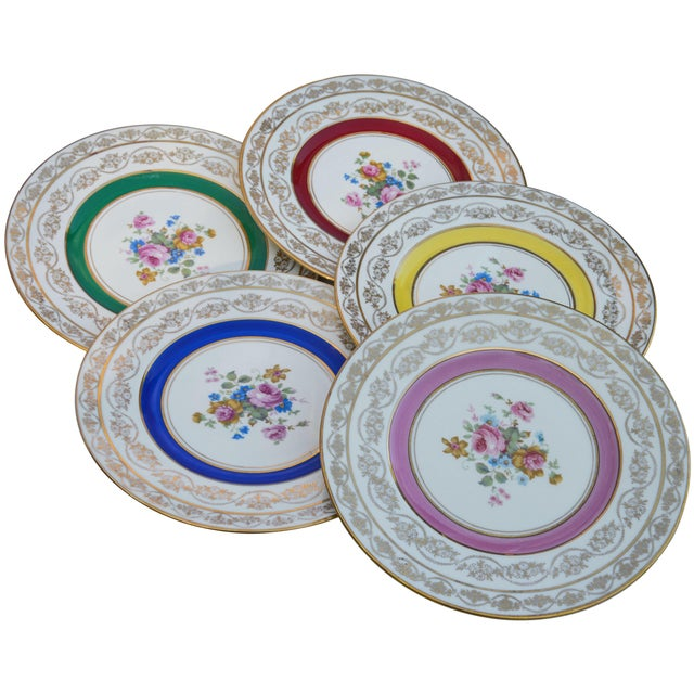 Art Deco Vintage Colorful Porcelain Plates- S/5 For Sale - Image 3 of 8