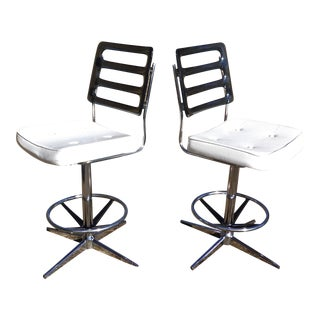 Chromcraft Mid-Century Lucite Swivel Bar Stools - A Pair