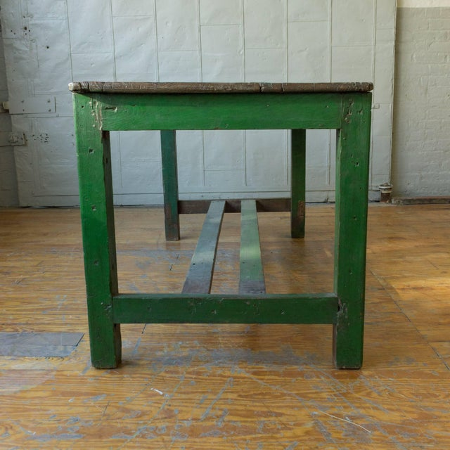 Large French Industrial Wooden Table With Green Paint For Sale In New York - Image 6 of 10