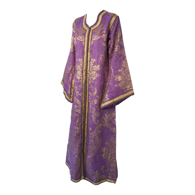 1970s Lavender and Gold Brocade Maxi Dress Caftan, Evening Gown Kaftan For Sale
