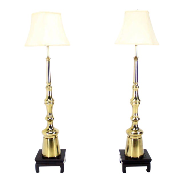 Mid-Century Modern Metal Finial-Shape Floor Lamps - A Pair For Sale