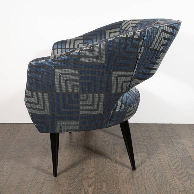 Mid-Century Modern Club Chair in Sapphire & Platinum Fabric With Ebonized Walnut For Sale In New York - Image 6 of 8